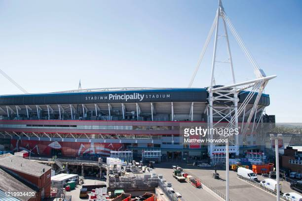 General view of the Principality Stadium, home of the Dragon's Heart Hospital, a 2000-bed coronavirus field hospital, on April 20, 2020 in Cardiff,...
