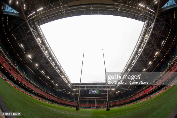 A general view of The Principality Stadium home of Wales Rugby during the Guinness Six Nations match between Wales and Ireland at Principality...