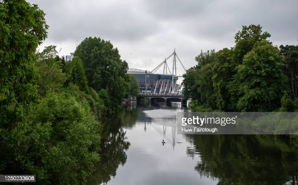 General view of the Principality Stadium looking along the River Taff on June 17, 2020 in Cardiff, Wales, United Kingdom. Welsh shops and places of...