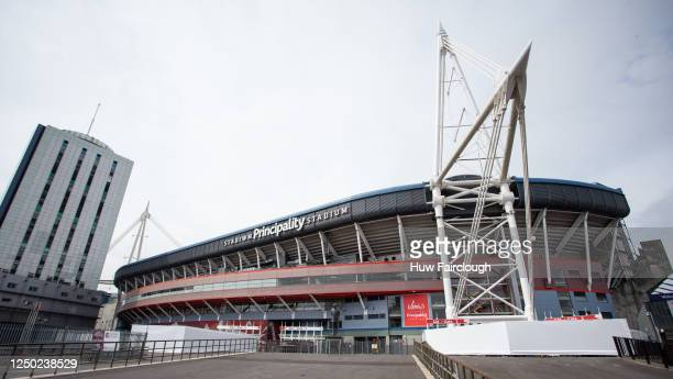 General view of the Principality Stadium which is still be used as the Dragon Field Hospital on June 17, 2020 in Cardiff, Wales, United Kingdom. As...