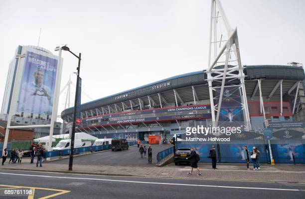 A general view of the Principality Stadium which will be renamed the 'National Stadium of Wales' for the Champions League final on May 29 2017 in...