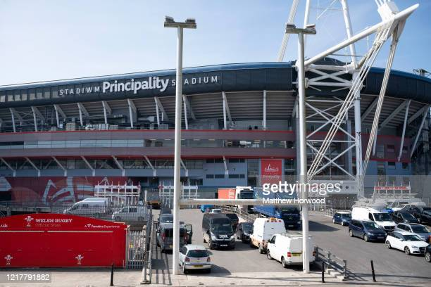A general view of the Principality Stadium which will hold the Dragon's Heart hospital on April 9 in Cardiff Wales The Principality Stadium is being...