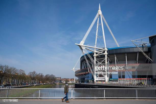 General view of the Principality Stadium which will hold the Dragon's Heart hospital on April 9 in Cardiff, Wales. The Principality Stadium is being...