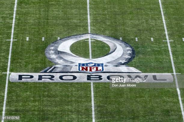 A general view of the Pro Bowl Logo on the field at Camping World Stadium before the start of 2018 Pro Bowl Game between the AFC Team against the NFC...