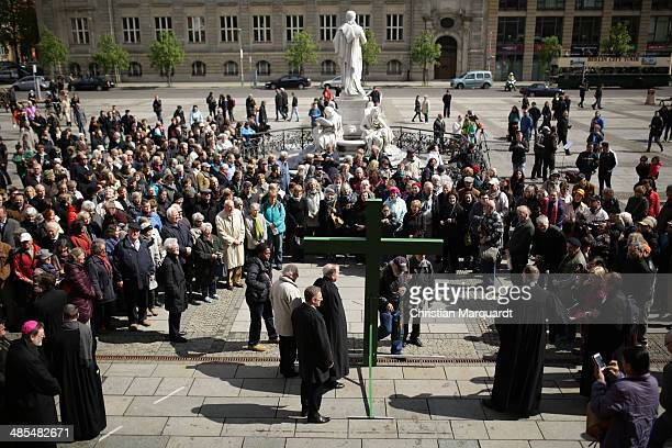 A general view of the procession during the ecumenical Good Friday procession on April 18 2014 in Berlin Germany Under the theme of 'Reformation and...