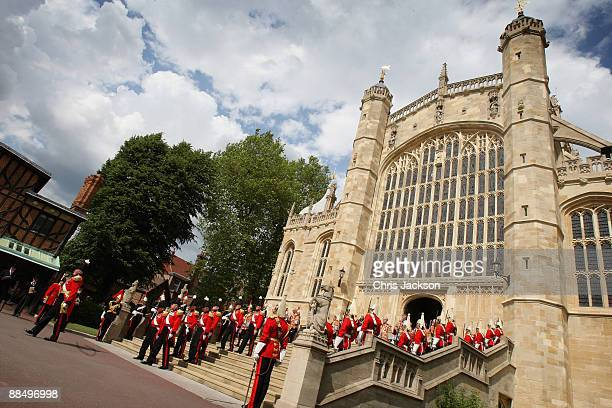 A general view of the procession leaving St Georges's Chapel after attending the Garter Ceremony on June 15 2009 in Windsor England The Order of the...