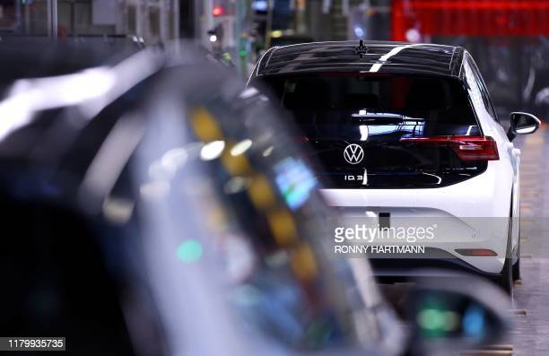 General view of the production line of the new Volkswagen electric car, the ID.3 model, at the Volkswagen car factory in Zwickau, eastern Germany, on...