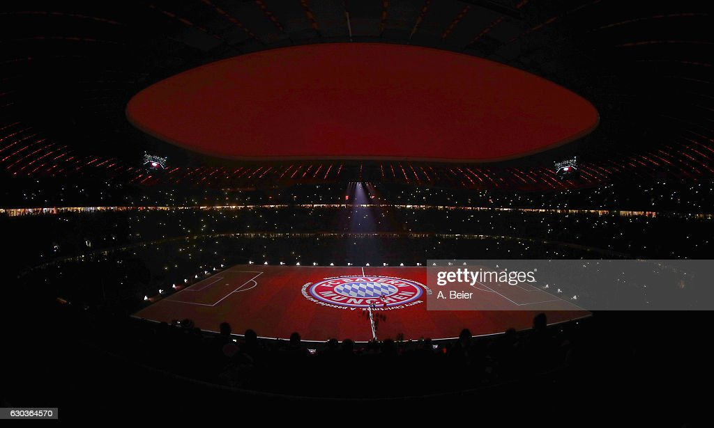 A general view of the projection show of FC Bayern Muenchen after the Bundesliga match between Bayern Muenchen and RB Leipzig at Allianz Arena on December 21, 2016 in Munich, Germany.