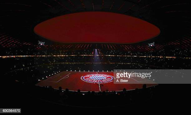 A general view of the projection show of FC Bayern Muenchen after the Bundesliga match between Bayern Muenchen and RB Leipzig at Allianz Arena on...