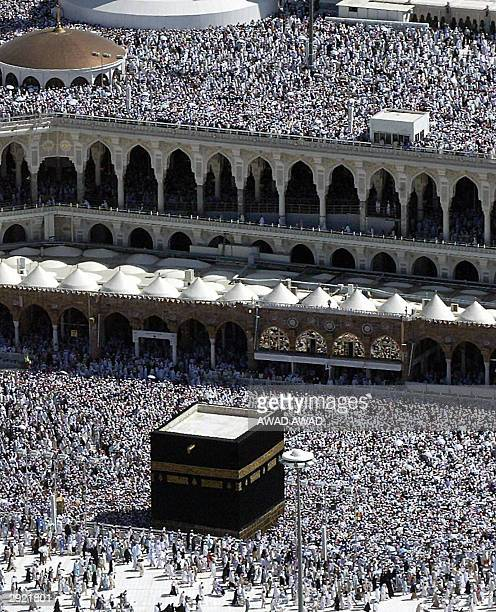 General view of the Prophet Mohammed mosque in the holy city of Mekkah, with the black-clothed Kaaba stone in the center and hundreds of thousands of...