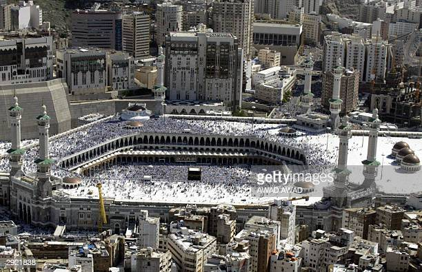 A general view of the Prophet Mohammed mosque in the holy city of Mekkah with the blackclothed Kaaba stone in the center and hundreds of thousands of...