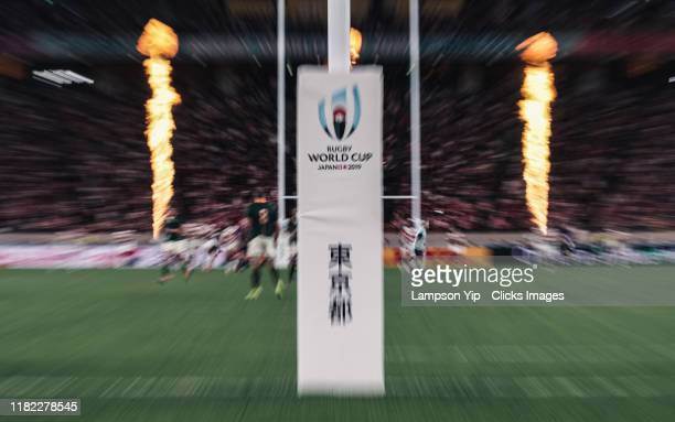 General view of the protection pad during the Rugby World Cup 2019 Quarter Final match between Japan and South Africa at the Tokyo Stadium on October...