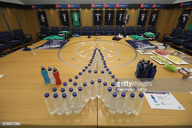 General view of the PSG dressing room prior to the UEFA Champions League match between Paris Saint Germain and Ludogorets Razgrad at Parc des Princes...