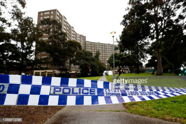 A general view of the Public Housing tower in Alfred Street North Melbourne on July 11 2020 in Melbourne Australia Metropolitan Melbourne and the...