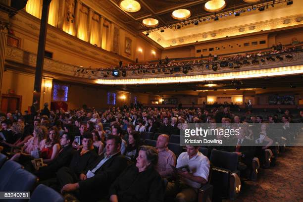 A general view of the public memorial service held for actor Rob Guest at the Regent Theatre on October 13 2008 in Melbourne Australia The late actor...