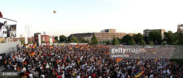 A general view of the public viewing area is seen prior to the UEFA EURO 2008 Group B match between Austria and Germany outside the KoelnArena on...