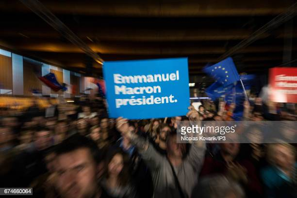 A general view of the public who came for seeing Emmanuel Macron Founder and Leader of the political movement 'En Marche ' and presidential candidate...