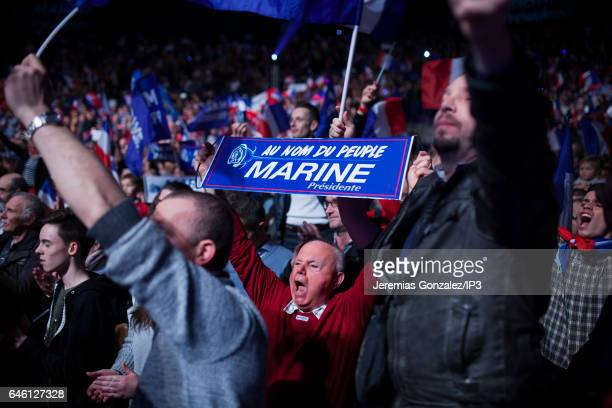 A general view of the public who came to listen the meeting of French far right National Front political party's leader Member of the European...