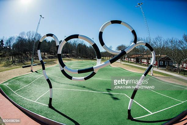 """General view of the """"Puckelboll"""" pitch in Skaerholmen, south-west of Stockholm, on April 11, 2016. The 'Puckelboll' pitch is an artwork designed by..."""