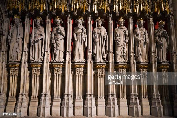 General view of the Pulpitum at York Minster which is undergoing final stages of restoration work on November 18, 2020 in York, England. York...