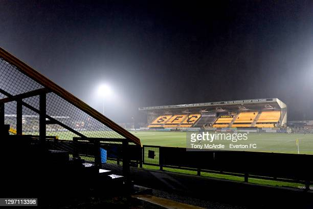 General view of the Pure Stadium on a rain swept night before the Premier League 2 match between Everton and Liverpool at Pure Stadium on January 18...