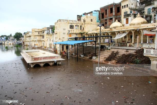 A general view of the Pushkar Lake after heavy monsoon rain made the water level rose in Pushkar on August 3 2019
