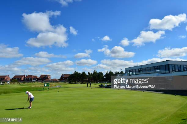 General View of the putting green and Clubhouse during a practice round ahead of the Womens Amateur Championship at The West Lancashire Golf Club on...