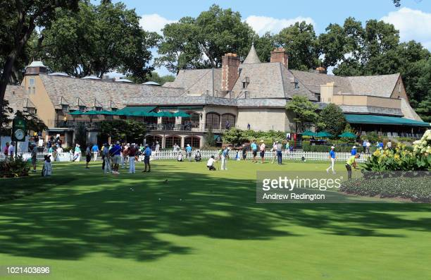 A general view of the putting green and clubhouse during the Pro Am event prior to the start of The Northern Trust at Ridgewood CC on August 22 2018...