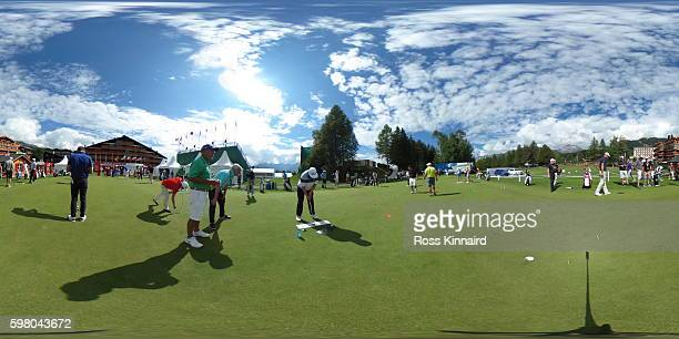 A general view of the putting practice green during the proam event prior to the Omega European Masters at CranssurSierre Golf Club on August 30 2016...