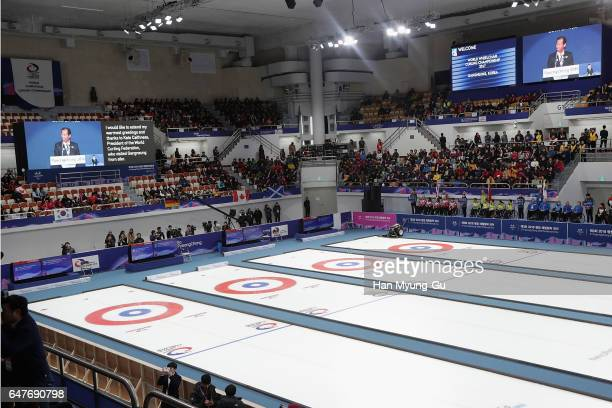 A general view of the PyeongChang 2018 Paralympic Day and Opening of the World Wheelchair Curling Championship 2017 at Gangneung Curling Centre on...
