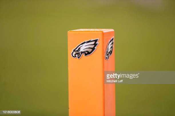 A general view of the pylon in the end zone with a Philadelphia Eagles logo during the preseason game against the Pittsburgh Steelers at Lincoln...