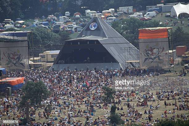 General view of the Pyramid Stage and audience at the Glastonbury Festival in June 1992