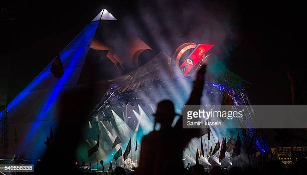 A general view of the Pyramid Stage as Muse perform at Glastonbury Festival 2016 at Worthy Farm Pilton on June 24 2016 in Glastonbury England