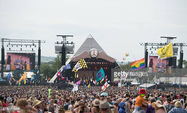 A general view of the Pyramid Stage at the Glastonbury Festival at Worthy Farm Pilton on June 27 2015 in Glastonbury England