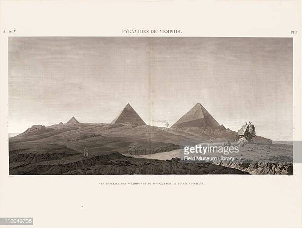 General View of the Pyramids and the Sphinx at sunset at Memphis Volume V Plate 8 Description de l'Egypte 1809 1828 published by the orders of...