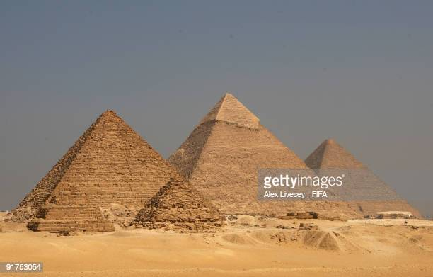 A general view of the Pyramids at the Giza Plateau From left to right is the Pyramid of Menkaure the Pyramid of Khafre and the Great Pyramid for King...