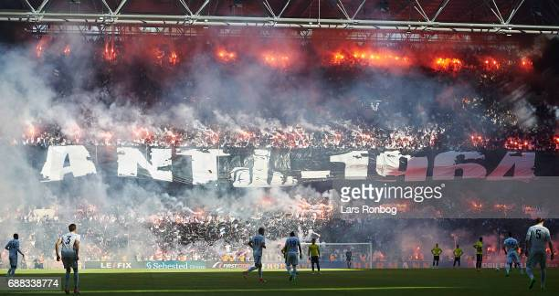 General view of the pyrotechnics from the fans of FC Copenhagen during the Danish Cup Final DBU Pokalen match between FC Copenhagen and Brondby IF at...