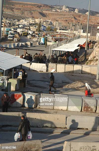 General view of the Qalandiya Israeli military checkpoint between Jerusalem and the West Bank city of Ramallah on January 26, 2004.