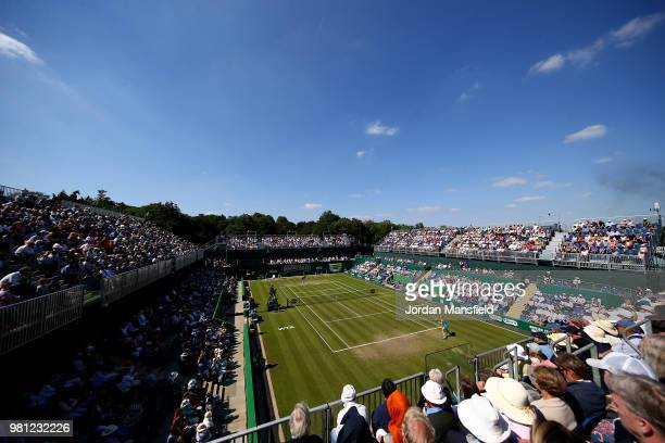 A general view of the qarterfinal match between Julia Goerges of Germany and Petra Kvitova of the Czech Republic during Day Seven of the Nature...