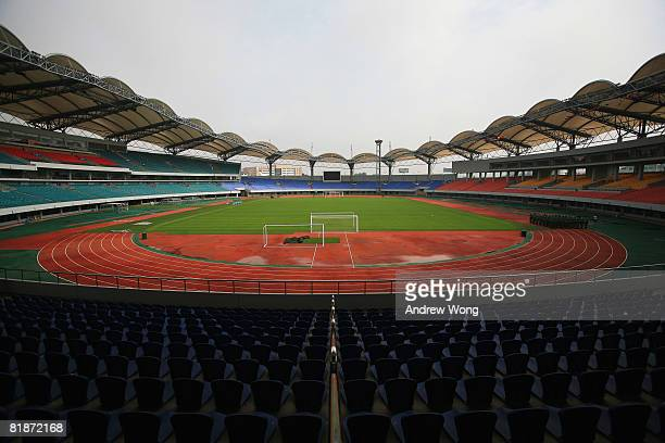 A general view of the Qinhuangdao Olympic Sports Center Stadium the venue for the Football Preliminary event during the 2008 Beijing Olympic Games is...