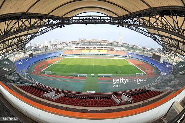 A general view of the Qinhuangdao Olympic Sports Center Stadium the venue for the Football Preliminary event during the Beijing Olympic Games on July...