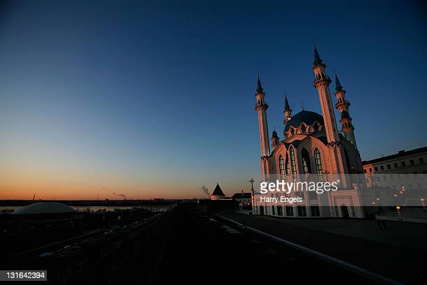 A general view of the Qolsharif Mosque in the Kazan Kremlin on November 6 2011 in Kazan Russia Kazan is one of thirteen cities proposed as a host...