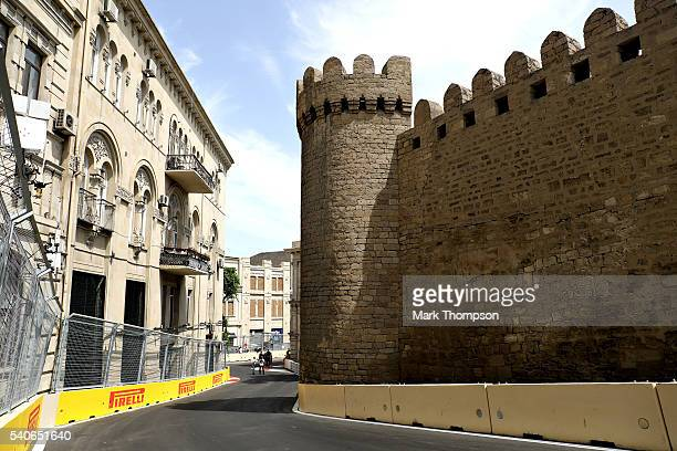 A general view of the Qosha gate from the circuit during previews ahead of the European Formula One Grand Prix at Baku City Circuit on June 16 2016...