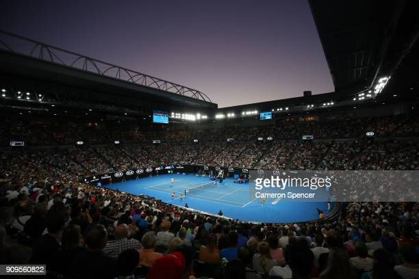 A general view of the quarterfinal match between Roger Federer of Switzerland and Tomas Berdych of the Czech Republic on day 10 of the 2018...