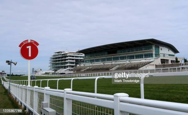 A general view of the Queen's Stand and the Duchess's Stand at Epsom Downs Racecourse on May 17 2020 in Epsom England All horse racing in UK is...