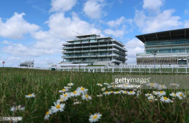A general view of the Queen's Stand and the Duchess's Stand at Epsom Downs Racecourse on May 24 2020 in Epsom England All horse racing in UK is...