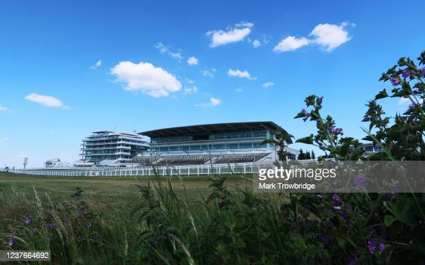 A general view of the Queen's Stand and the Duchess's Stand at Epsom Downs Racecourse on May 31 2020 in Epsom England All horse racing in UK is...