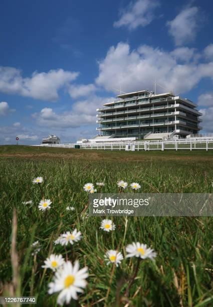 General view of the Queen's Stand at Epsom Downs Racecourseon May 24 2020 in Epsom, England. All horse racing in UK is suspended due to the...