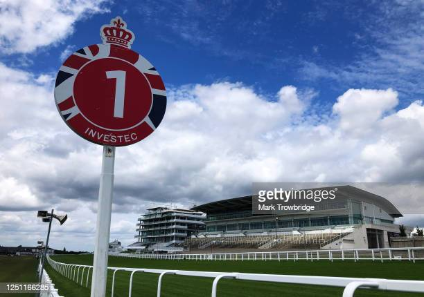 General view of the Queen's Stand, the Duchess's Stand and the one furlong marker at Epsom Downs Racecourse on June 21, 2020 in Epsom, England. The...