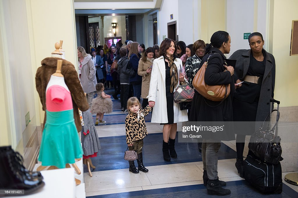General view of the queue outside the Global Kids Fashion Week SS13 public show in aid of Kids Company at The Freemason's Hall on March 20, 2013 in London, England.